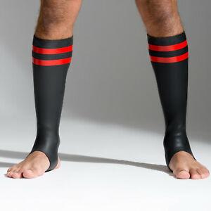 Calze-in-Neoprene-doppio-neostretch-strisce-gommate-NUOVO-NEOPRENE-RACER-SOCKS-gay