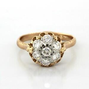 Estate-Rose-Gold-Floral-Diamond-Ring-14K-1-25-CTW-Round-Diamonds-Ladies-9-75