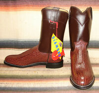 Justin Diamond J Brown Sharkskin Print Leather Cowboy Boots Mens 8.5 D