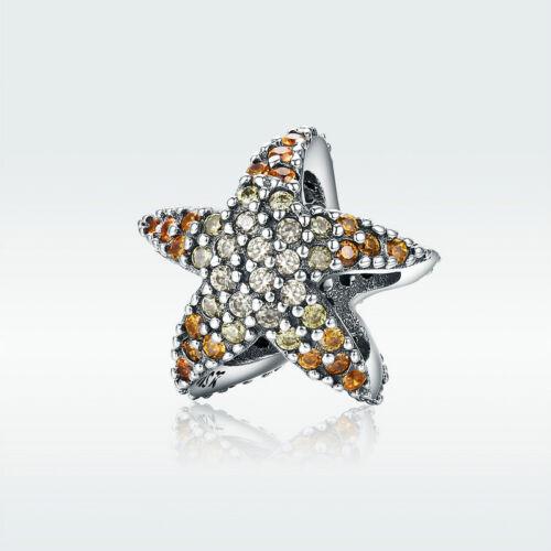 Unique Cristal étoile De Mer Pendentif 925 Silver Charm Bead Avec Zircone Cubique Pour Collier Cadeau