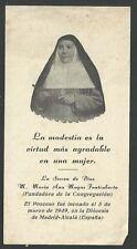 Estampa antigua de la Sierva Maria Ana Mogas santino holy card santini