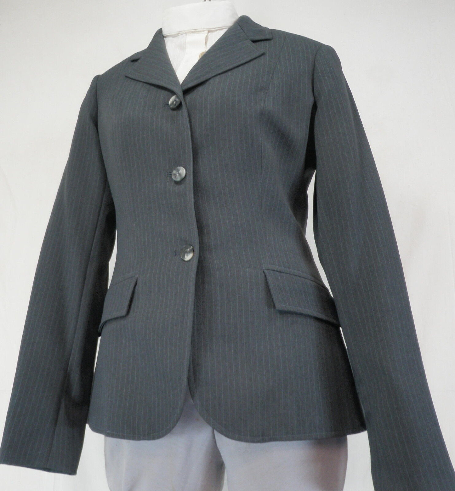 Reed Hill Double Vent Hunt  Coat Dark Grey Pin Poly Size 16  - Made in USA  good quality
