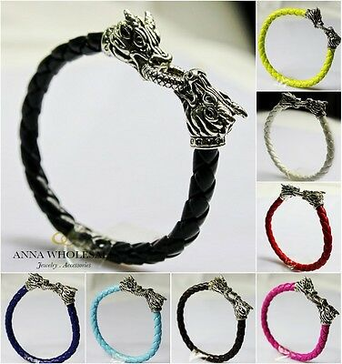 Wholesale Bulk Men Women Leather Snake Bracelet Silver Dragon Charms Punk Bnage