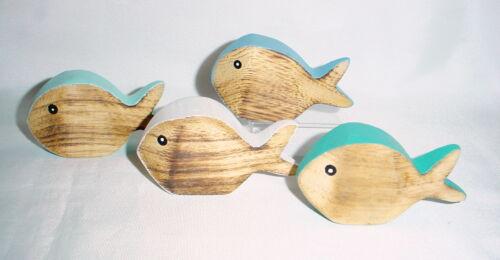 e 4 Stück Deko-Fisch *zum stellen 10,5x5,5 Holz*Struktur*maritim*Shabby*Sommer