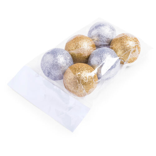 6 pc de luxe glitter ball christmas tree baubles décoration set argent or blanc