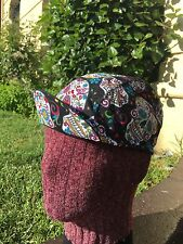 CYCLING CAP  SUGAR SKULL COTTON FABRIC 100% HANDMADE IN USA ANY SIZE
