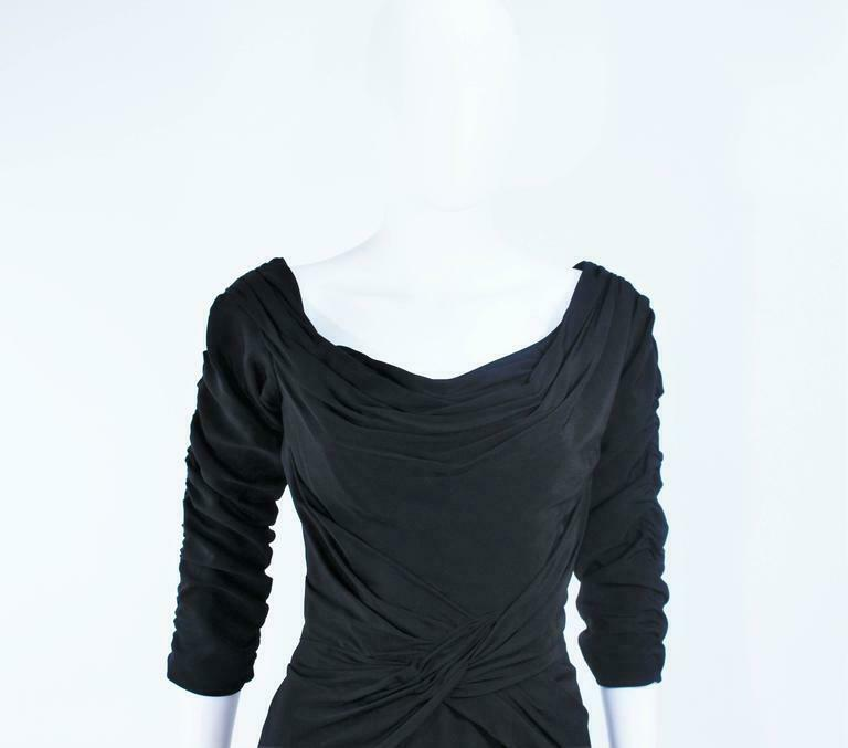 CEIL CHAPMAN Black Gathered Cocktail Dress Size 4… - image 4
