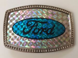 Vintage-80-039-s-NO-S-Ford-Reflective-Classic-Oval-Logo-Retro-Belt-Buckle-Cool-Rare