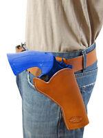 Barsony Saddle Tan Leather Cross Draw Gun Holster For Taurus 4 Revolvers