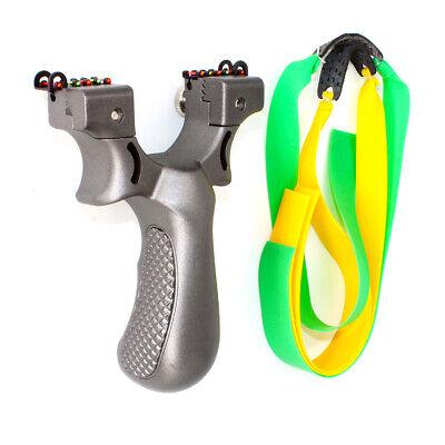 Pro Black ABS Plastic Hunting Slingshot New Catapult Sling Shot Flat Rubber Band