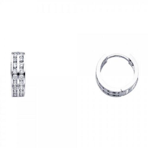 Double Row Hoop Round Simulated Diamonds Huggie Hinged 14k Gold 4 mm Earrings