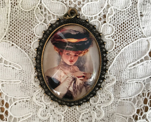 WOMAN DRINKING TEA Glass Dome PENDANT X Large Oval VINTAGE Harrison Fisher Art