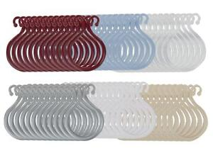 Double-Shower-Curtain-Hooks-Set-of-12-Plastic-Choice-of-Colors