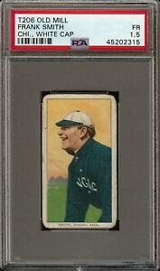 Rare 1909-11 T206 Frank Smith White Cap Old Mill Back Chicago PSA 1.5