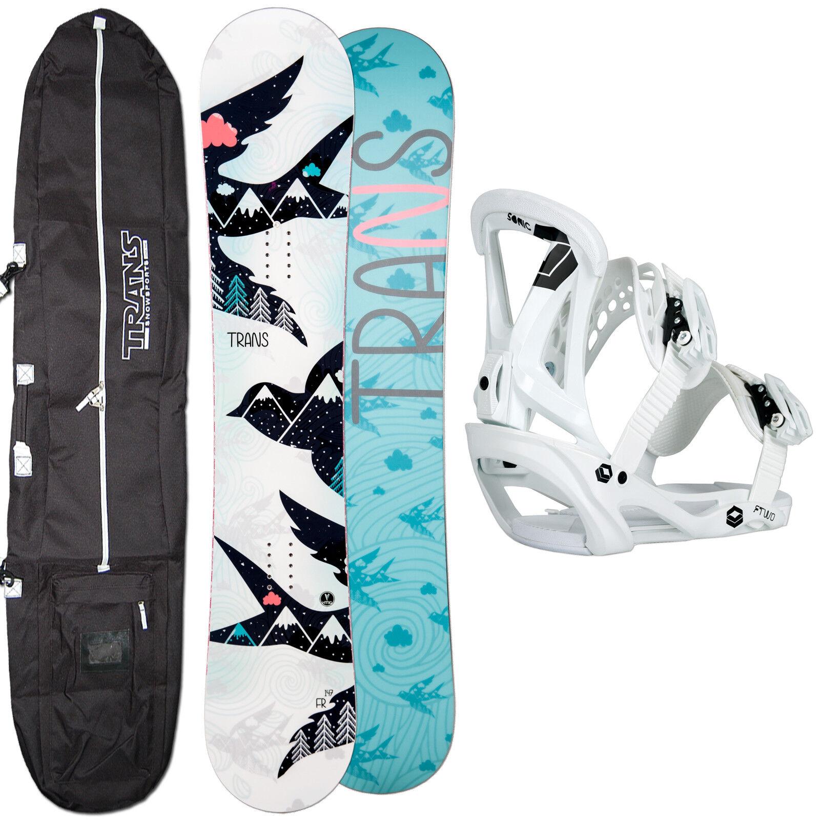 Women's Snowboard Set Trans Fr Girl White 152 cm + Ftwo Sonic Binding SIZE M +