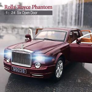 1-24-Rolls-Royce-Phantom-Metal-Diecast-Model-Car-Toy-Sound-amp-Light-Red-With-Box