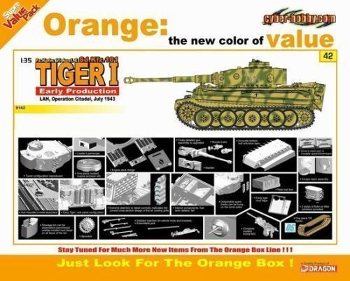 DRAGON 9142 1 35 Tiger I Early, LAH Operation Citadel July 1943, Cyber Hobby Kit