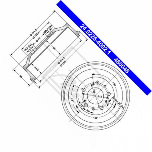 ATE 24.0225-4002.1 Bremstrommel passt für Fiat Ducato Pritsche//Fahrgestell 244