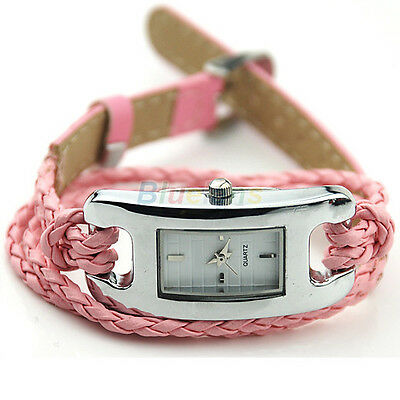 New Faux Leather Braid Band Womens Quartz Movement Wrist Watches Wristwatch Gift
