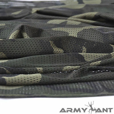 "Woodland Camouflage Army Military Hunt 60""W Camo Breathable Mesh Fabric Cloth"