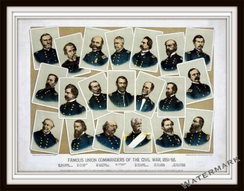 Wall Art of a Civil War 1884 Lithograph of Famous Union Commanders 11x14