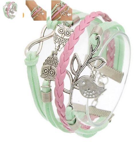 NEU Armband Lederarmband Mehrreihig mintgrün rosa Vogel Eule Intinity  H2