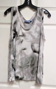 Simply-Vera-Vera-Wang-Women-039-s-Tank-Top-Gray-White-Black-Marble-Scoop-Neck-Sz-XL