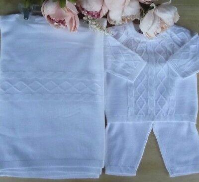 Spanish Style 3 Pcs Baby Boy WHITE Fine Knit Blanket ...