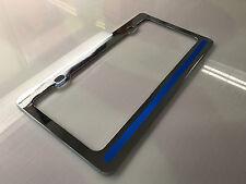 Blue Line License Plate Frame Chrome Police reflective vinyl tag holder car