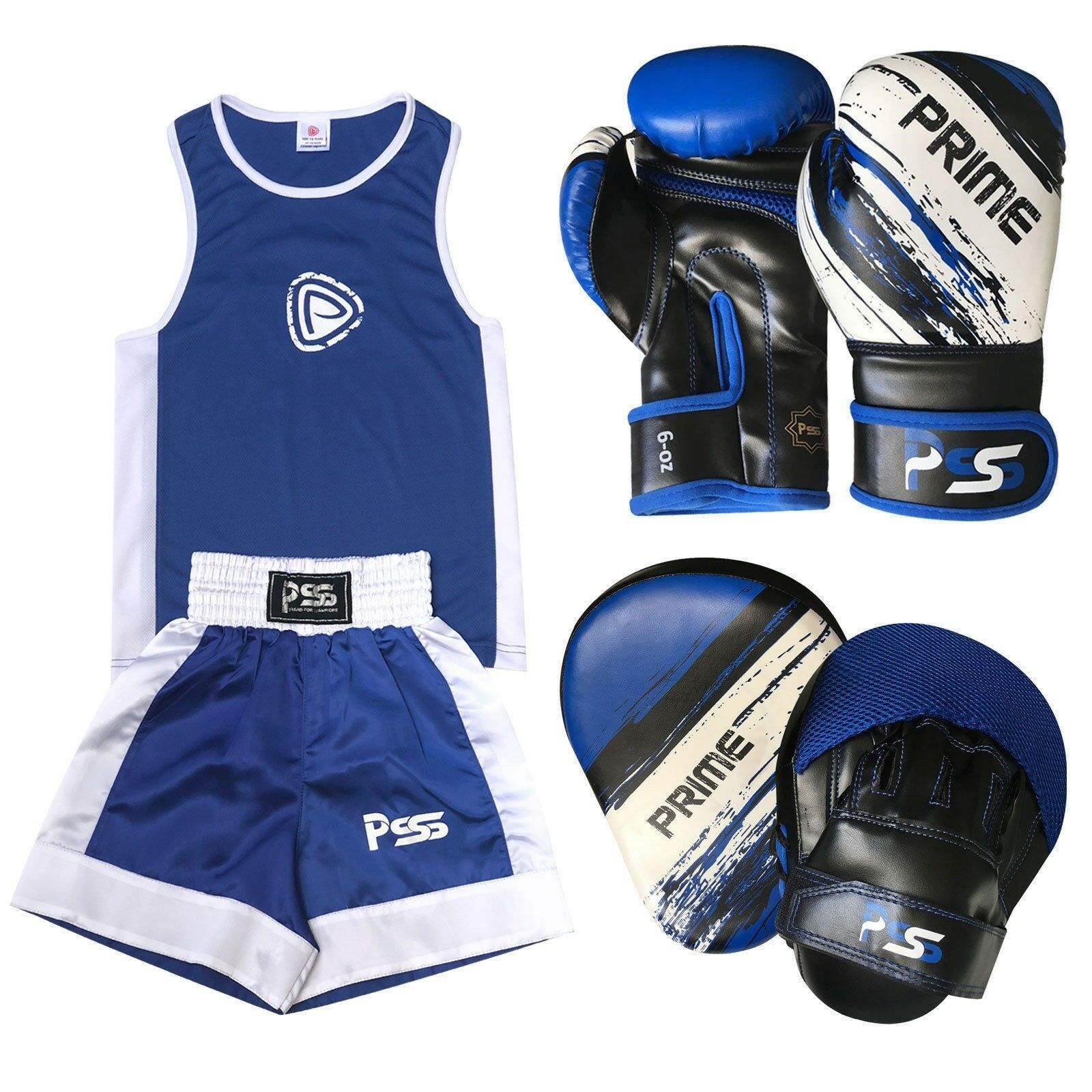 bluee Kids boxing SET 3 Pcs Uniform  + boxing G  1012 + Focus pad 1106 (SET-14)  hot sports