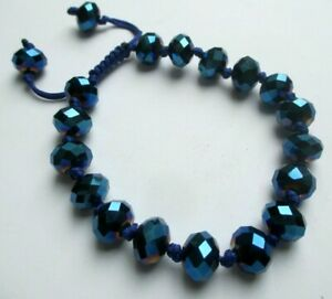 Site Officiel Bracelet Cordelette Réglable Perles à Facettes Superbe Bleu Bijou 3442