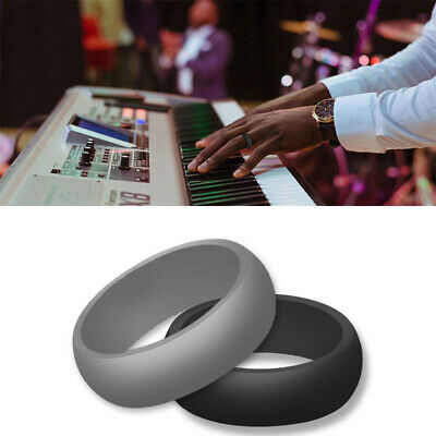 Mens Silicone Wedding Band >> Comfort Silicone Mens & Womens Wedding Band Safety Rubber Ring   eBay