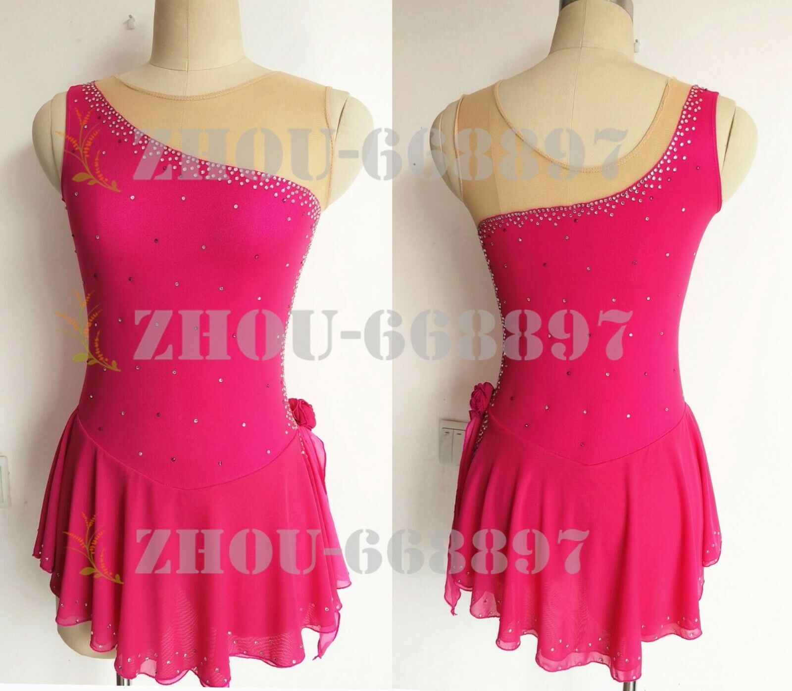 Competition ice  figure skating dress  ld women ice skating dress pink  shop makes buying and selling
