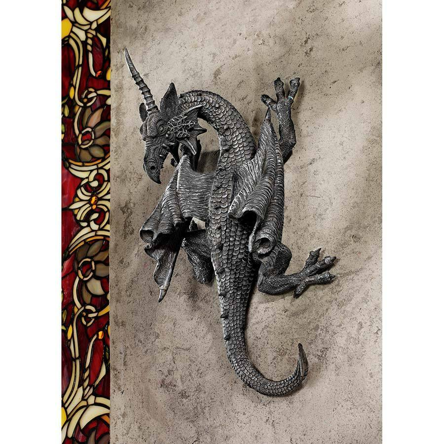 Horned Dragon Climbing Wall Sculpture Gothic Castle Home Decor