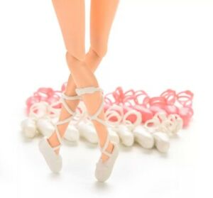 """Barbie Doll 10 Pairs Of Ballet Shoes Lot 1"""" White /& Pink US Seller"""