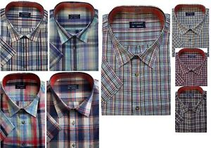 New-Mens-Big-amp-Tall-Short-Sleeve-Casual-Sleeved-Chekred-Checked-Shirt-Shirts
