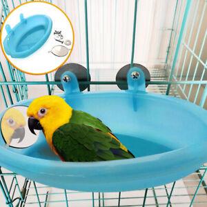UK-Plastic-Bird-Cage-Bath-Basin-With-Mirror-For-Pet-Small-Bird-Parrot-Bathtub-bN
