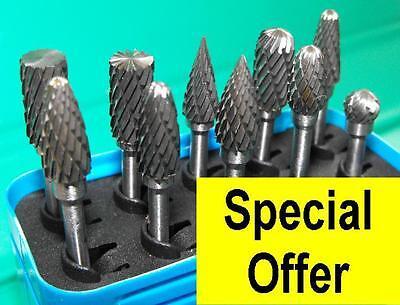 10 Piece Tungsten Carbide Burr Set 6mm 3mm shank 10-6x3