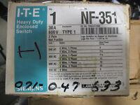 Ite Siemens Nf351, 30 Amp 600 Volt Nema 1 Disconnect-