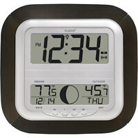 Large Display Digital Alarm Clock Wall Desk Time Day Date Moon Phase Atomic Temp