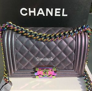 cc9f45ed5cc2 Image is loading Chanel-Boy-Iridescent-mermaid-purple-Small-bag-Goatskin-
