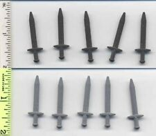 Small W#28 Lego Lot Of 5 Flat Silver Minifig Weapon Sword