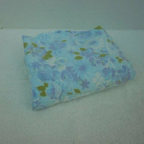 West Point Pepperell Blue Floral Fitted Twin Sheet No Iron Muslin