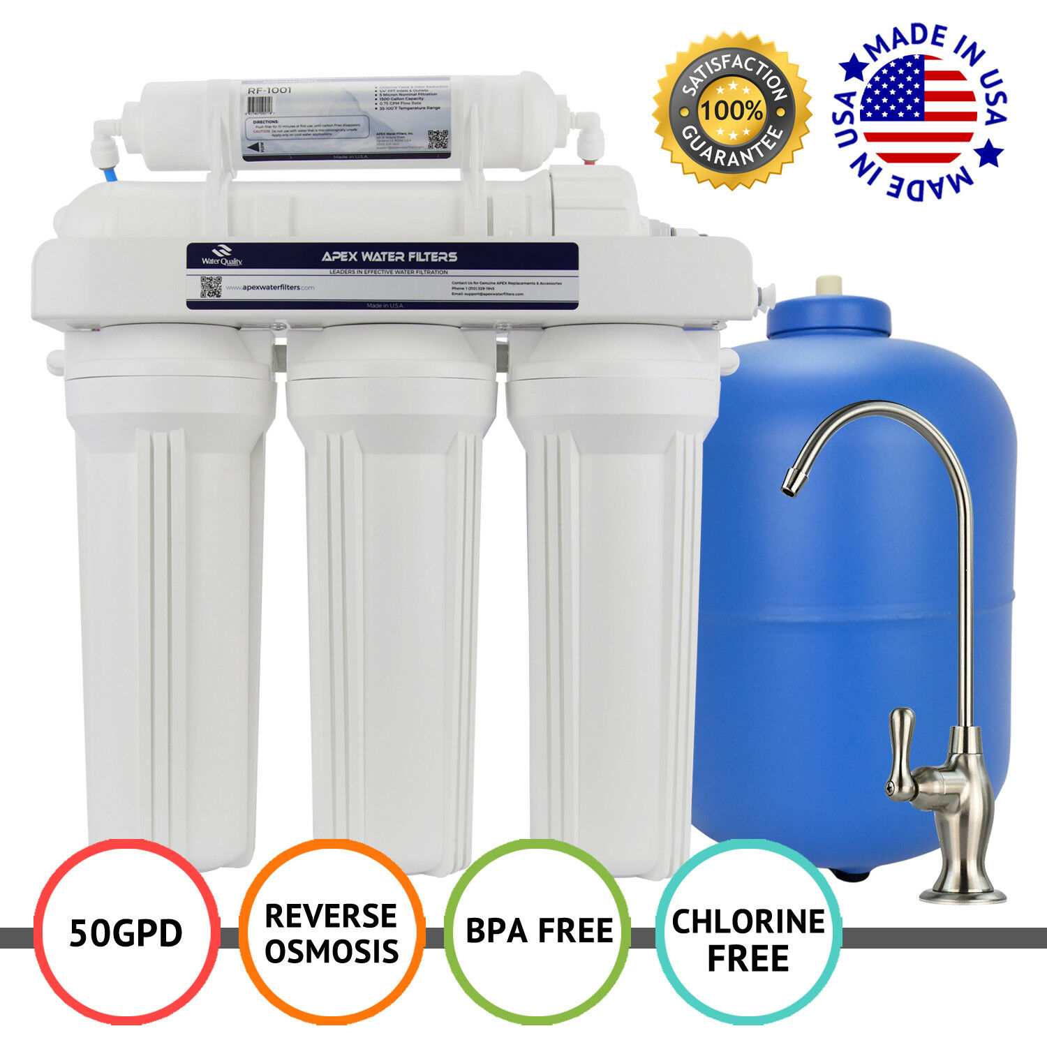 APEX MR-5050 5 Stage 50 GPD RO Filtration Reverse Osmosis Water Filter System