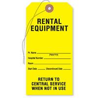 Equipment Tags rental Equipment Tag Yellow 50 Pk