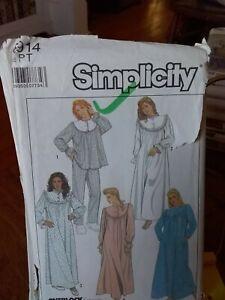 Oop-Simplicity-8914-misses-sleepwear-nightgown-pjs-robe-granny-yoke-sz-6-8-UNCUT