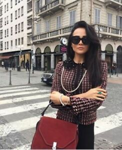 Collar Rare M Medium Bloggers Tweed Zara Coat Beaded Boucle Jacket Blazer qrztxwvCr