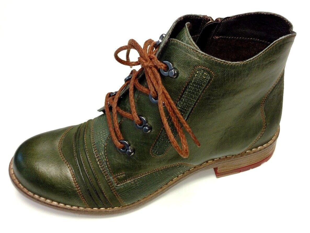 Maciejka zapatos señora botas botín botas con cordones 03116 09 cuero verde