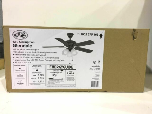 Hampton Bay Am212-orb 42 In  Indoor Oil-rubbed Ceiling Fan With Light Kit