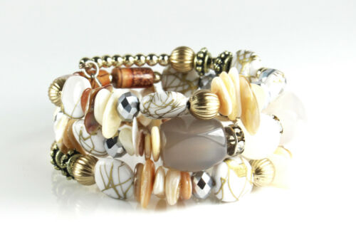 Brazalete blanco oro pulsera pulsera enrollada Memory Wire cirujana